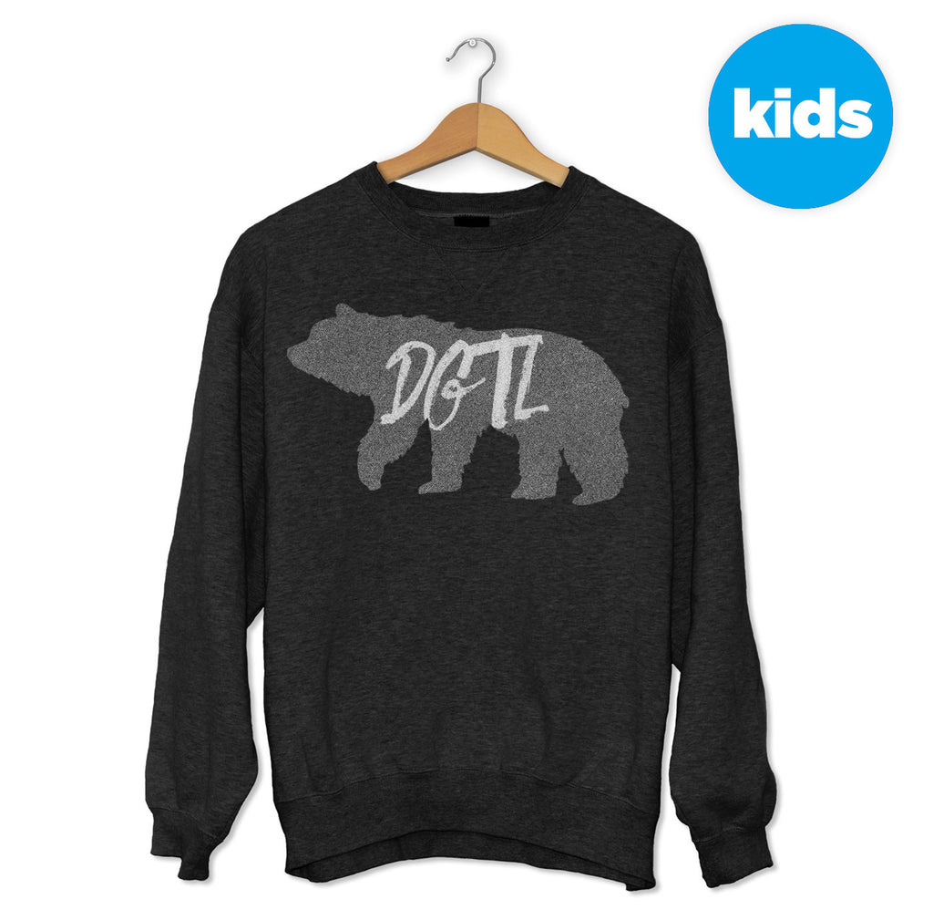 Black & Grey Illustrated Bear Sweater