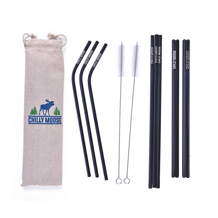 Set of 8 ass't Stainless Steel Reusable Straws