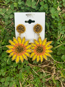 Sunflower Seed Bead Earrings- gold