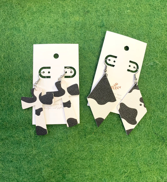 Faux Leather Cow Earrings