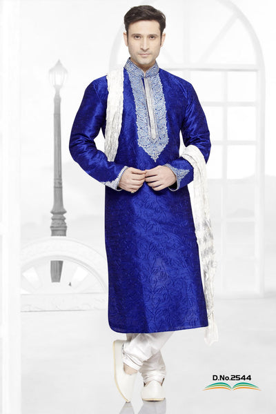 Royal Blue Dupion Silk Kurta