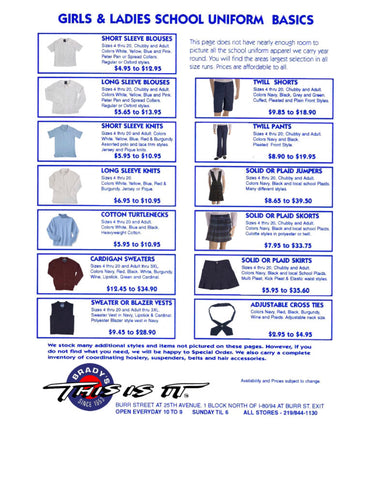 Girls Uniform Price Sheet