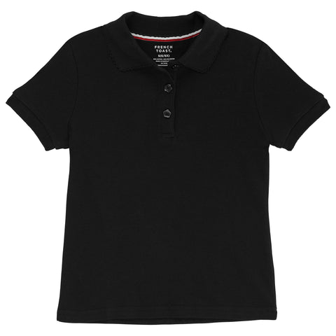 Short Sleeve Interlock Knit Polo with Picot Collar (Feminine Fit) Plus Sizes (6 Colors)