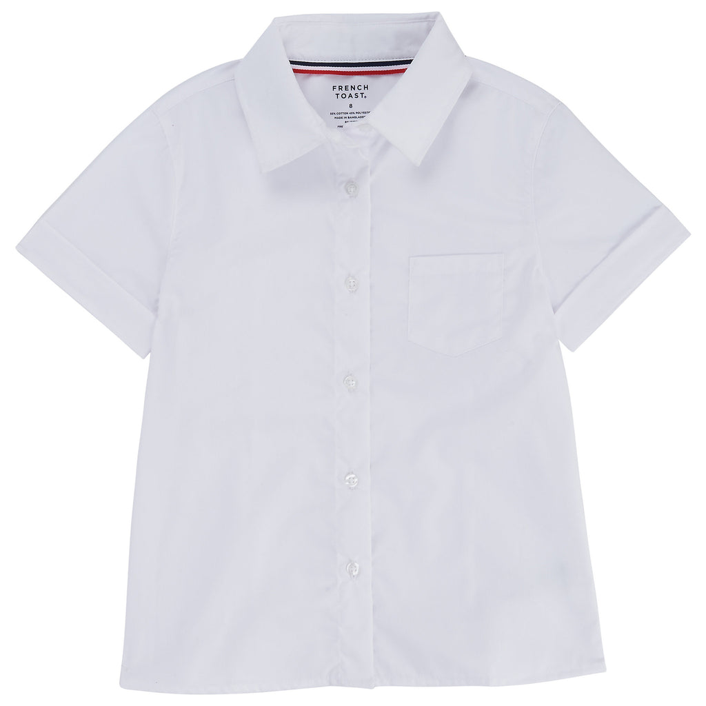 Short Sleeve Pointed Collar Blouse with Pocket Plus Sizes (2 Colors)