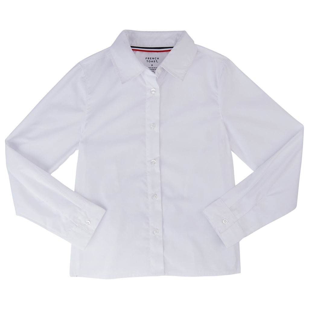 Long Sleeve Pointed Collar Blouse with Pocket Plus Sizes (1 Color)