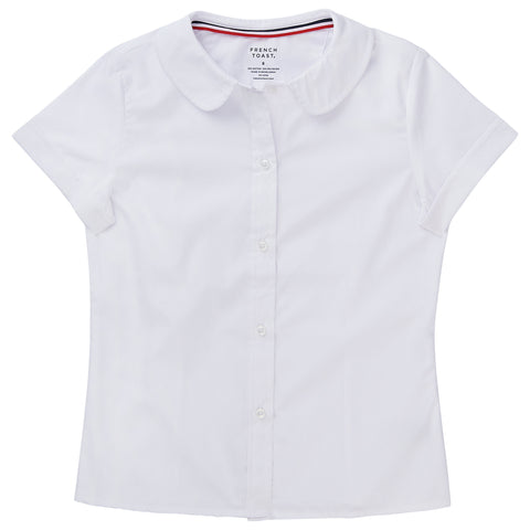 Short Sleeve Modern Peter Pan Blouse Plus Sizes (2 Colors)