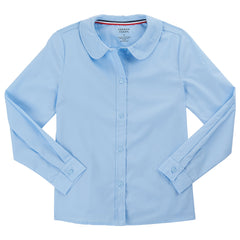Long Sleeve Modern Peter Pan Blouse Plus Sizes (2 Colors)