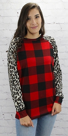 Plaid & Leopard Raglan Top