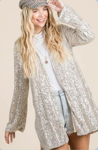 Champagne Sequin Cardigan