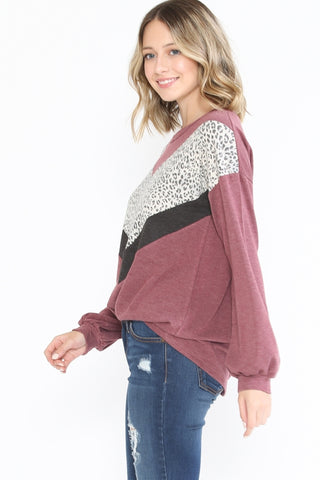 Chevron Leopard & Solid Color Sweater