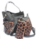3-piece Pewter & Leopard Purse Set