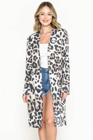 Large Leopard Print Long Cardigan