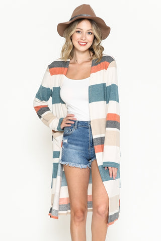 Colorful Horizontal Striped Cardigan