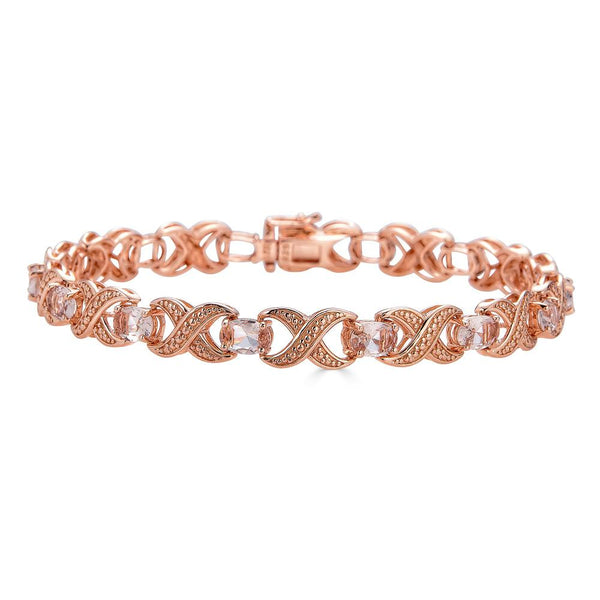 Morganite Infinity Bracelet Set in Rose Gold