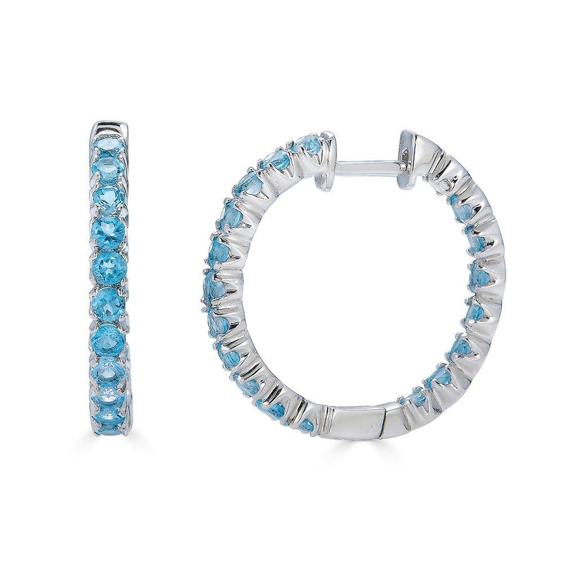 Swiss Blue Topaz Hoop Earrings