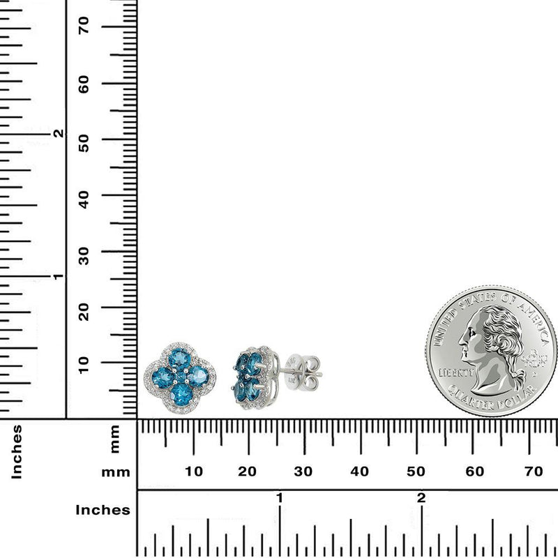 London Blue Topaz Halo Clover Earrings