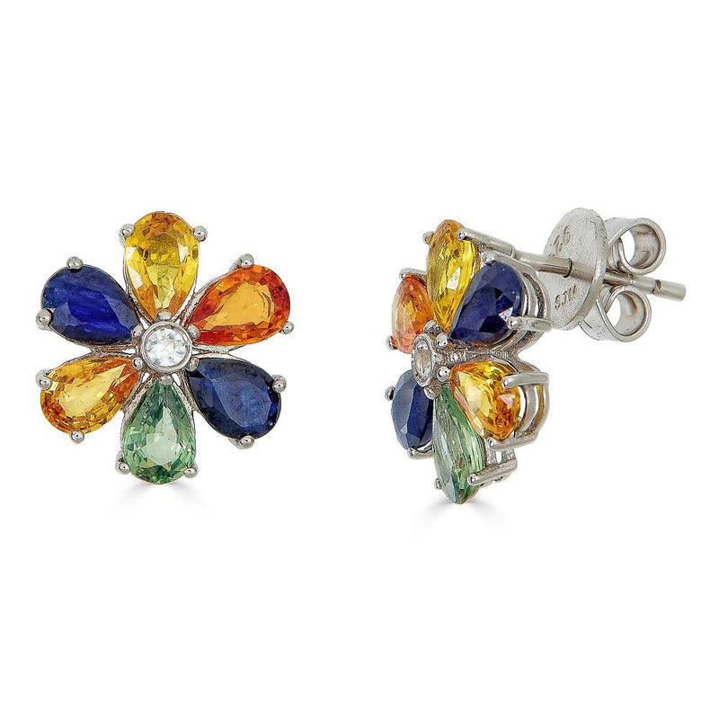 Multi-Color Sapphire Earrings