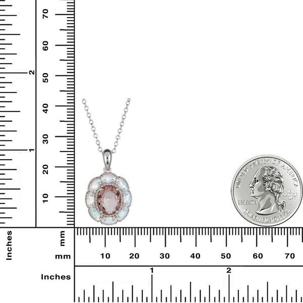 Morganite and Opal Pendant Set in 14K White Gold