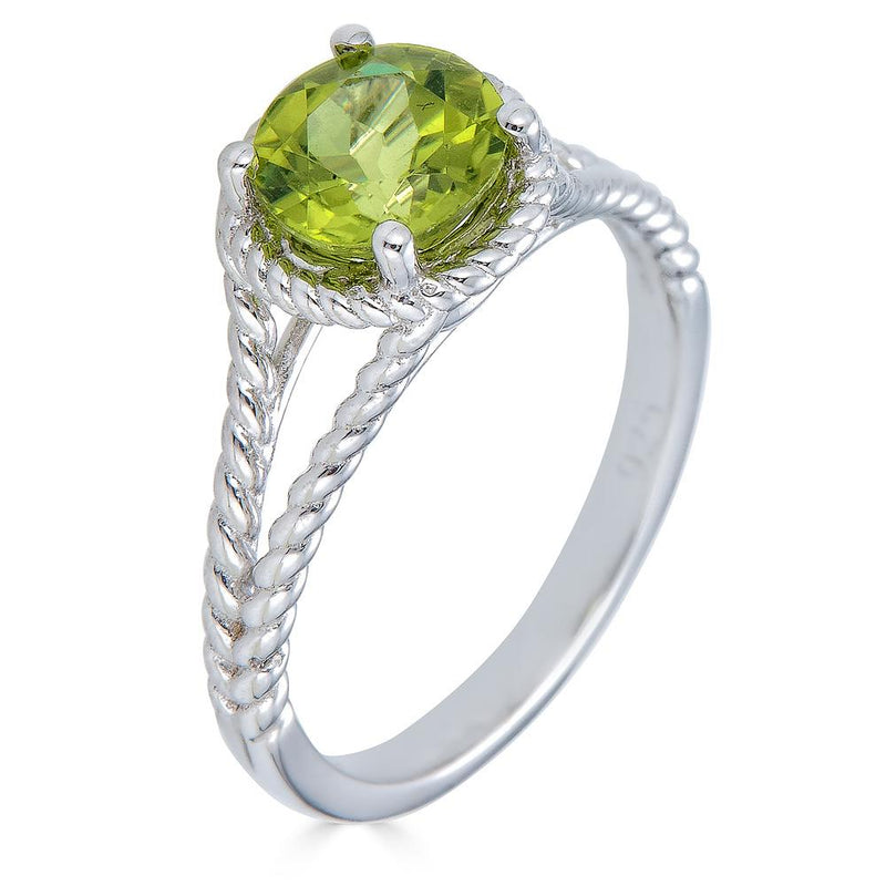 Peridot Rope Ring in Sterling Silver