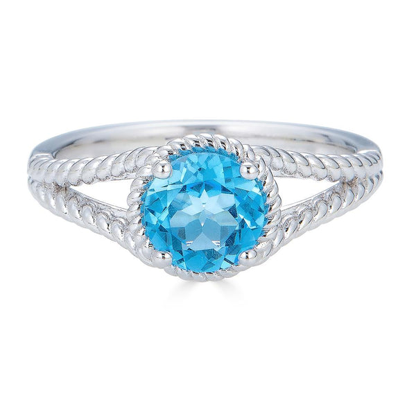 Swiss Blue Topaz Rope Ring