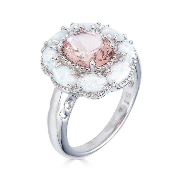 Morganite and Opal Petal Ring