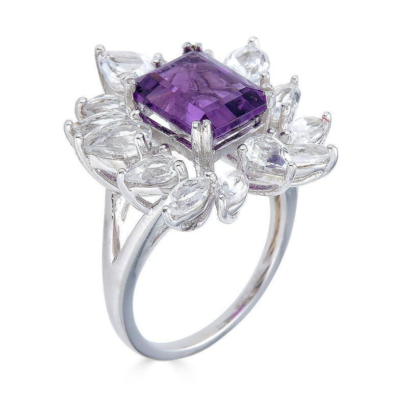 Amethyst and White Topaz Ring