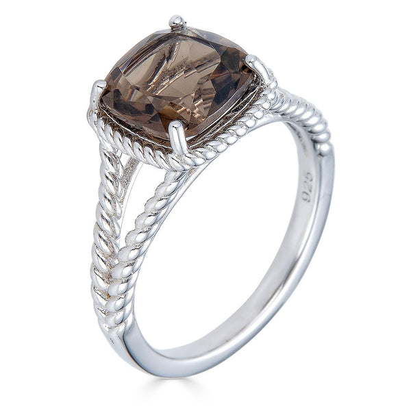 Smokey Quartz Cushion Cut Ring