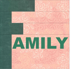F is for family quilt block