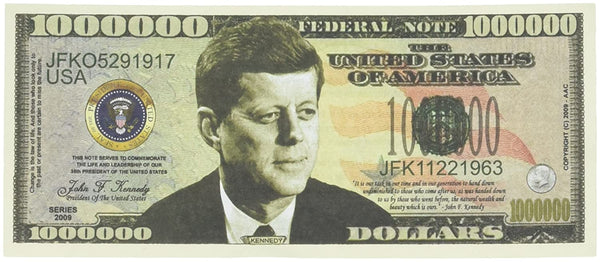 JFK 1 million collectable note