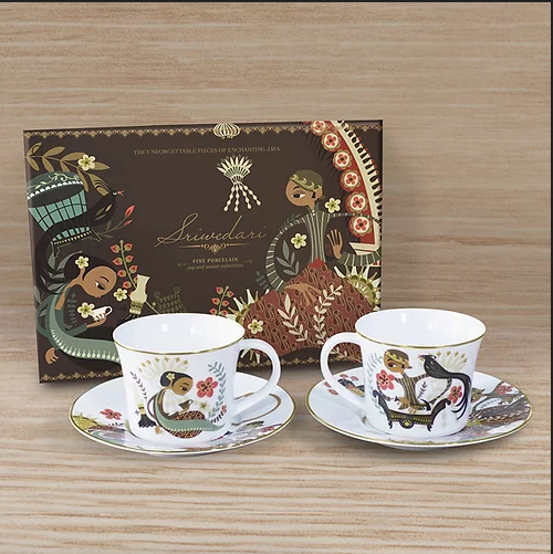 Sriwedari Brown Cup & Saucer Hampers