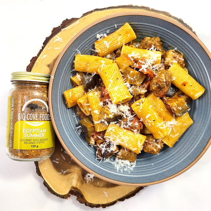 Egyptian Summer Eggplant Rigatoni