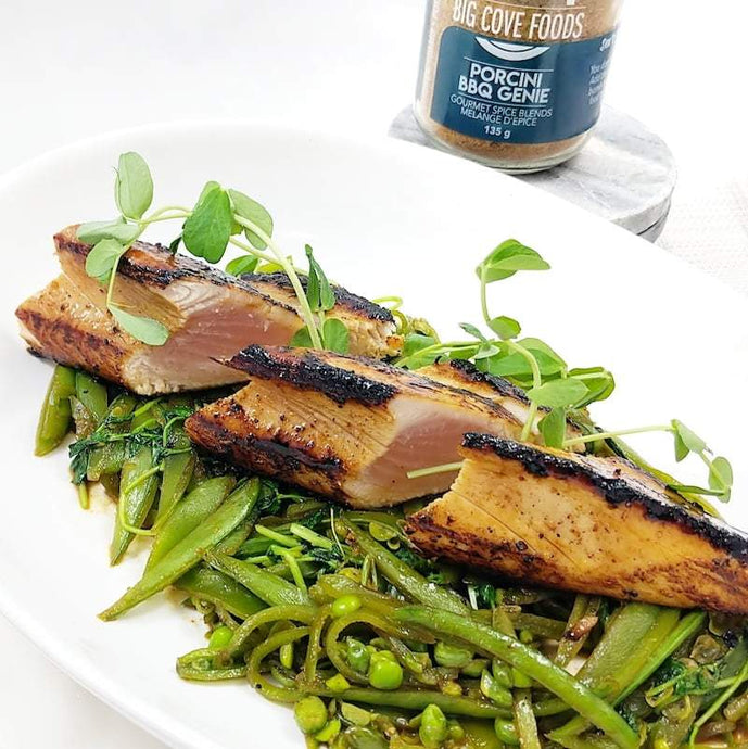 Caramelized Albacore Tuna over Slivered Snap Peas