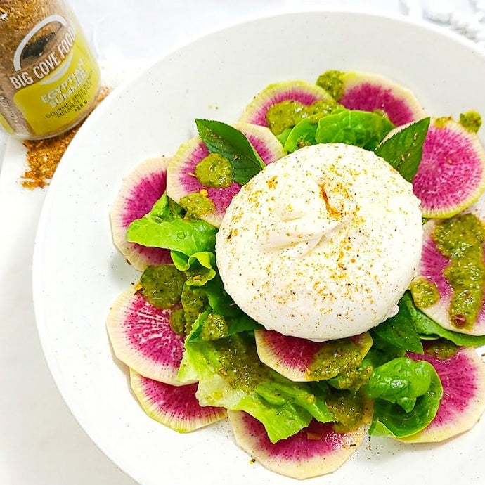 Watermelon Radish + Burrata Salad with Herb Dressing