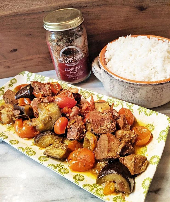 Instant Pot Espresso Pork with Eggplant and Tomatoes