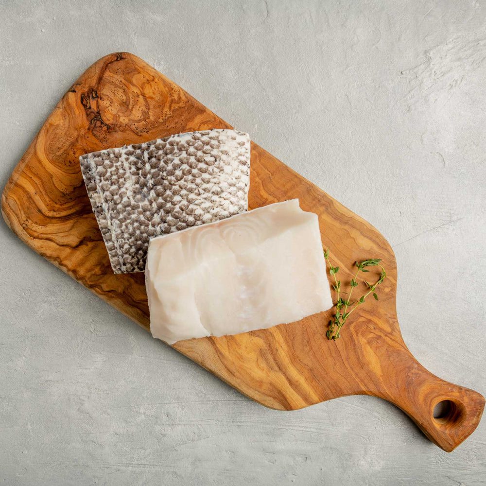 Chilean Sea Bass Fillet on Cutting Board by FishFinery