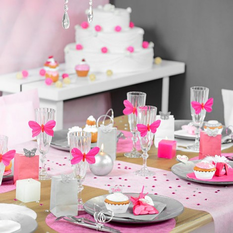 deco bapteme papillon rose