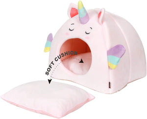All Fur You Unicorn Style Cat Cave Bed-Pink Used