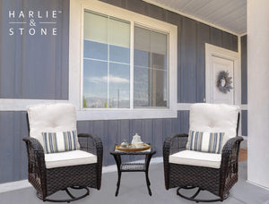 Harlie & Stone Outdoor Swivel Rocker Patio Chairs Set of 2 and Matching Side Table - 3 Piece Wicker Patio Bistro Set with Premium Fabric Cushions