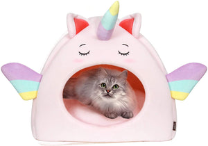 All Fur You Unicorn Style Cat Cave Bed-Pink
