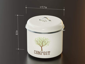 Third Rock Countertop Compost Bin with Lid - 1.0 Gallon Compost Bucket - Premium Dual Layer Powder Coated Carbon Steel Countertop Compost Bin - Includes Charcoal Filter
