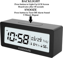 Load image into Gallery viewer, Battery Digital Alarm Clock with Snooze-Black