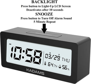 Battery Digital Alarm Clock with Snooze-Black