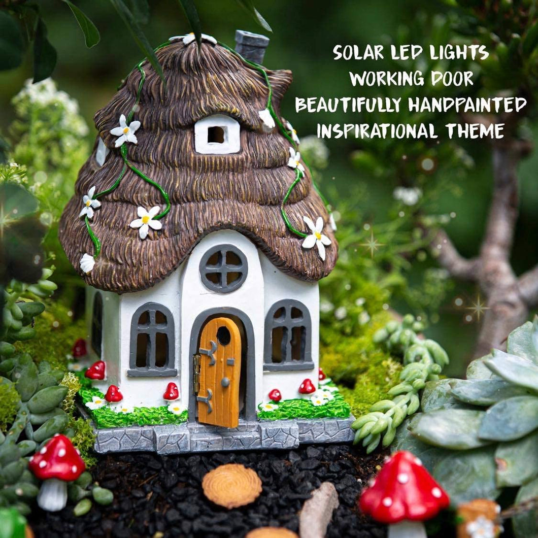 WILD PIXY Garden Miniature House - Outdoor Fairy Cottage Statue with Solar LED Light and Opening Door