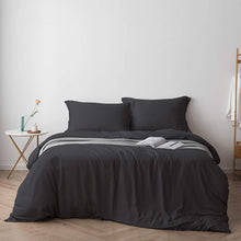 Load image into Gallery viewer, Bamtek 100% Organic Bamboo Queen Bed Duvet Cover Set - Dark Grey