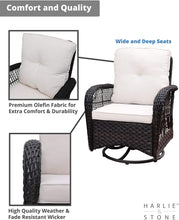Load image into Gallery viewer, Harlie & Stone Outdoor Swivel Rocker Patio Chairs Set of 2 and Matching Side Table - 3 Piece Wicker Patio Bistro Set with Premium Fabric Cushions