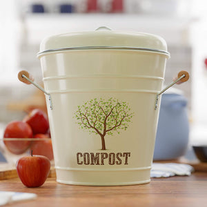 Third Rock Kitchen Compost Bin - 1.3 Gallon Compost Pail with Inner Compost Bucket Liner - Premium Dual Layer Powder Coated Carbon Steel Countertop Compost Bin - Includes Charcoal Filter