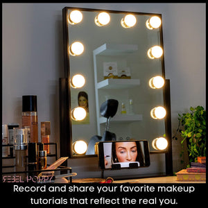 "Vanity Mirrors with LED Lights, 18.5"" x 14.8""-Black"