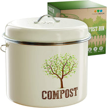Load image into Gallery viewer, Third Rock Countertop Compost Bin with Lid - 1.0 Gallon Compost Bucket - Premium Dual Layer Powder Coated Carbon Steel Countertop Compost Bin - Includes Charcoal Filter