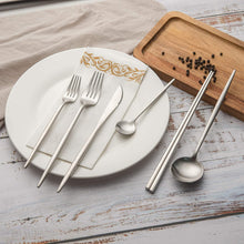 Load image into Gallery viewer, Matte Silver Modern Silverware Set 12 pieces Set for 2