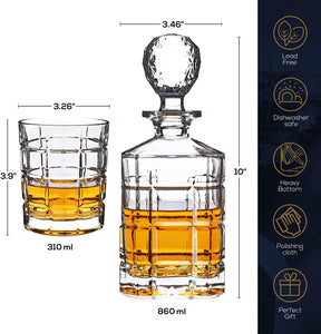 4 Whiskey Glasses, Bourbon Scotch Liquor Decanter